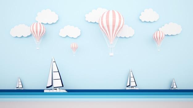 La playa con velero en el mar y globos en el cielo.
