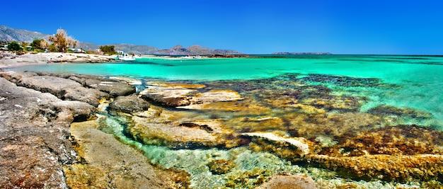 Playas increíbles de la isla de creta: hermosa elafonisi con mar turquesa cristalino