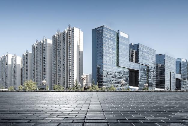 Plaza y modernos rascacielos, xiamen cbd, fujian