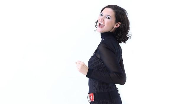 En pleno crecimiento feliz mujer de negocios