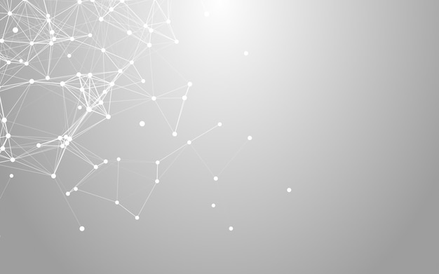 Plexo, espacio poligonal abstracto bajo poli fondo blanco con puntos y líneas de conexión.