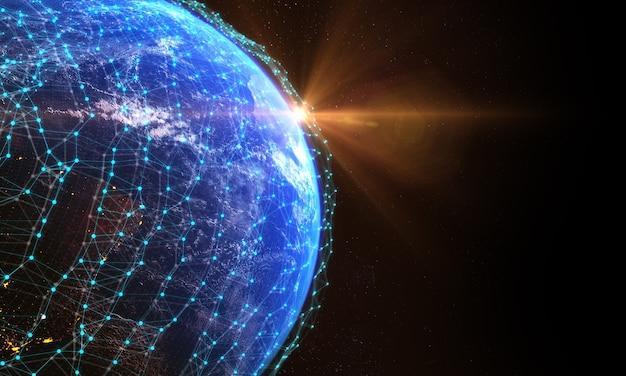 Plexo planeta tierra comunicación global conexión de red globo de datos digitales rayo del sol detrás