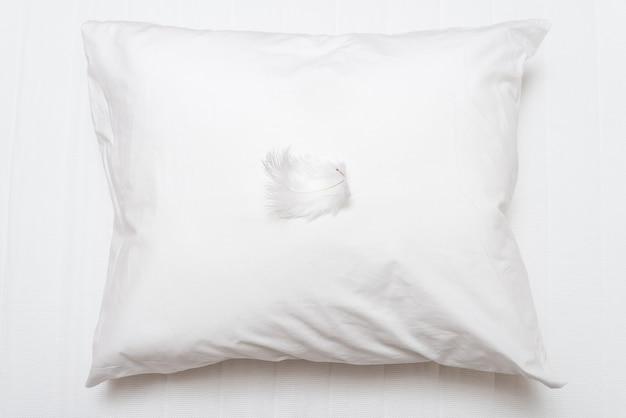 Pluma blanca sobre almohada suave