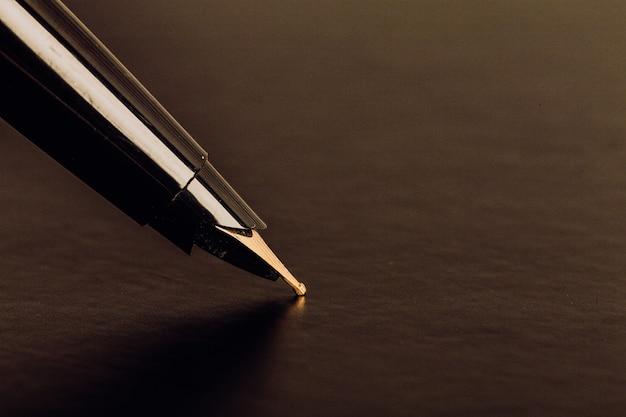 Pluma estilográfica en el bloc de notas abierto