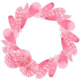 Plumas de papel rosa estampado acuarela para tela