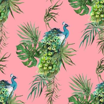 Plumas de pavo real y patrón de acuarela de hojas tropicales