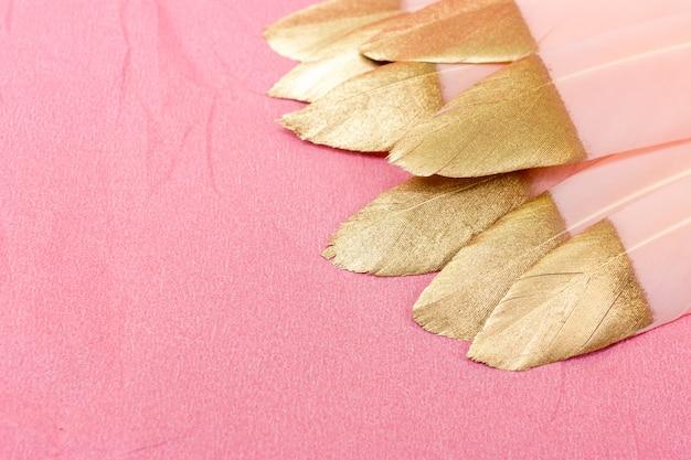 Plumas rosas y doradas sobre rosa.