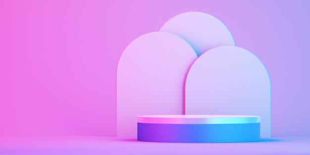 Podio 3d para maquetas para presentación de productos, fondo colorido, renderizado 3d