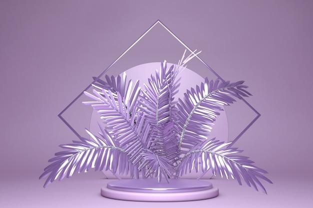 Podio 3d sobre fondo violeta pastel y hoja de palmera violeta