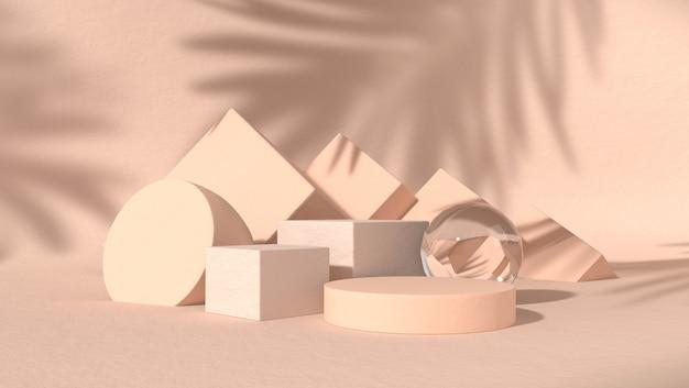 Podio abstracto para la colocación de productos cosméticos en fondo natural