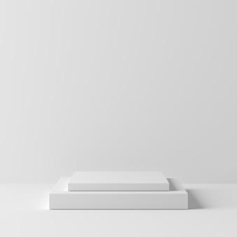 Podio abstracto del color blanco de la forma cuadrada de la geometría en el fondo blanco para el producto. concepto minimalista representación 3d