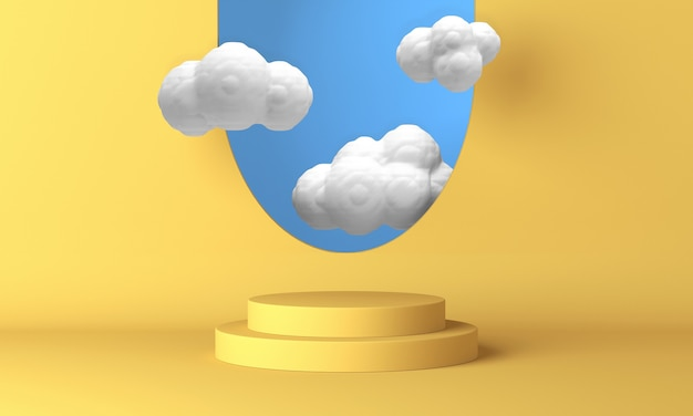 Podio amarillo con nubes blancas volando por la ventana. representación 3d.