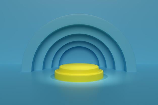 Podio amarillo sobre fondo azul. diseño geométrico abstracto.