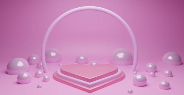 Podio de amor en forma de corazón con elemento abstracto de burbuja en rosa