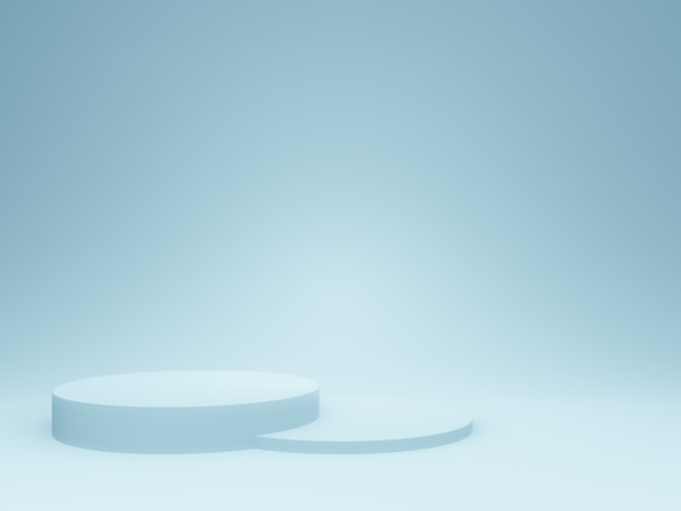 Podio azul claro renderizado 3d.