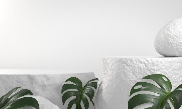Podio básico de arenisca con hojas de monstera