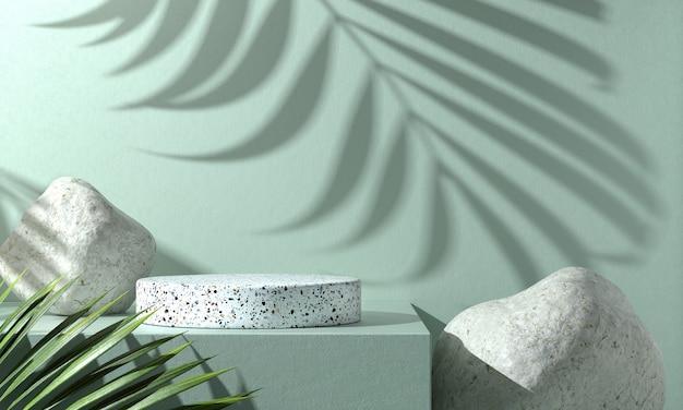 Podio básico de mármol blanco con hojas de monstera
