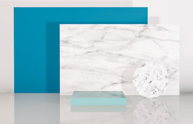 Podio de belleza natural con forma geométrica para la exhibición del producto. fondo abstracto de composición 3d.