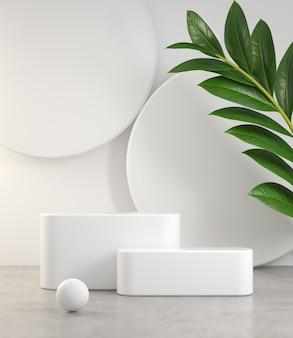 Podio blanco mínimo vacío en piso de cemento y planta resumen antecedentes 3d render
