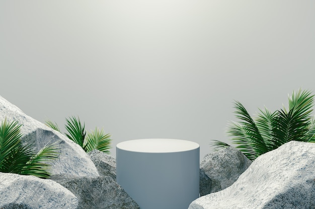 Podio blanco con rocas y plantas sobre fondo blanco, render 3d.