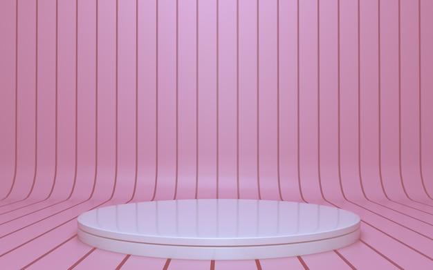 Podio blanco simple para exhibición de productos con fondo rosa