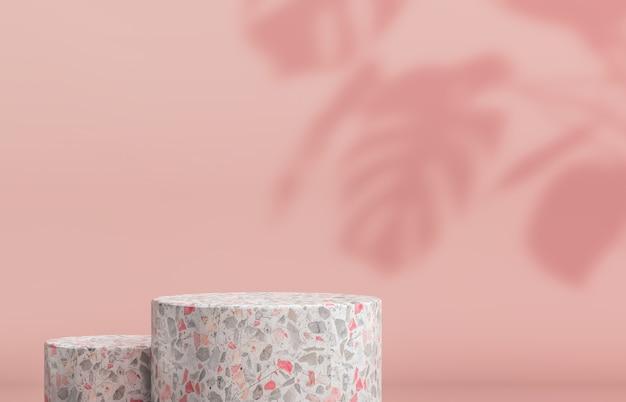 Podio con caja de cilindros vacía para exhibición de productos cosméticos. fondo de moda con textura de terrazo representación 3d.