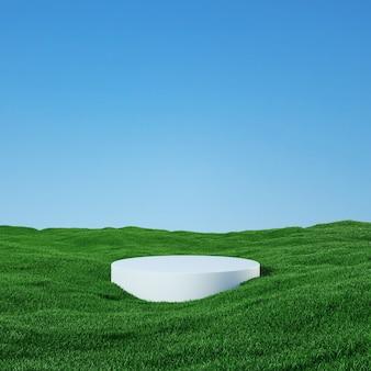 Podio entre un campo cubierto de hierba bajo un hermoso cielo soleado 3d rendering