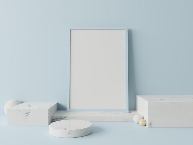 Podio en cartel abstracto para colocar productos en azul de pared, renderizado 3d
