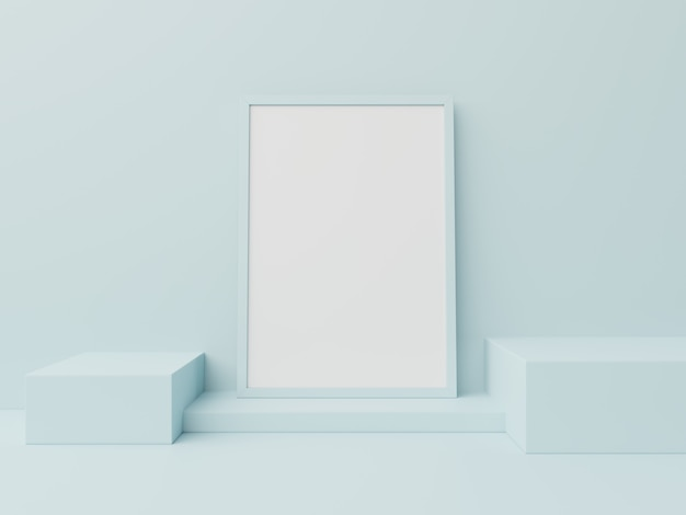 Podio en cartel abstracto para colocar productos, renderizado 3d.