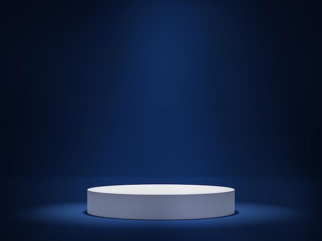 Podio de cilindro blanco sobre fondo azul oscuro una luz que brilla desde arriba 3d render