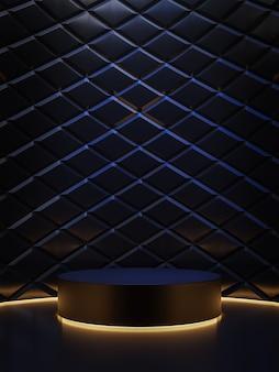 Podio de cilindro de concepto de viernes negro con render 3d de fondo de patrón de diamante