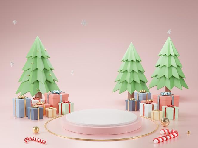 Podio de cilindro y fondo abstracto mínimo para navidad, forma geométrica de renderizado 3d, escenario para producto.