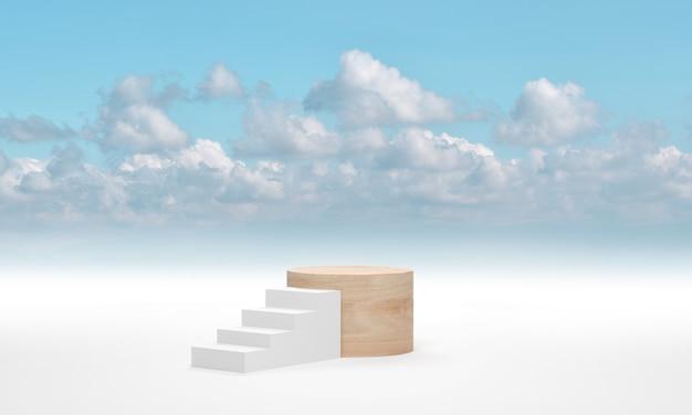 Podio de cilindro de madera contra la escalera blanca sobre el fondo de nubes de cielo azul. render 3d