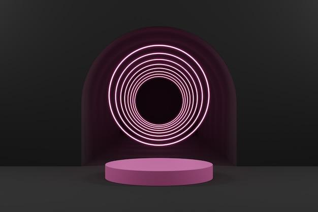 Podio de cilindro rosa y anillo de luz rosa sobre fondo gris del túnel.