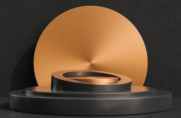 Podio de círculo de cobre para presentación de producto en estilo de lujo de fondo de muro de hormigón negro, modelo 3d e ilustración.