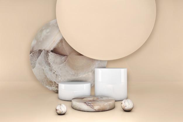 Podio de círculo de mármol marrón de lujo sobre fondo beige pastel. escaparate de la escena del concepto, producto, perfume, venta de la promoción, presentación, cosmética. ilustración 3d