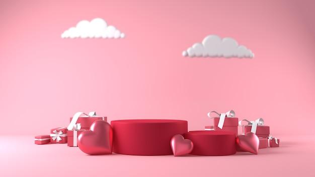 Podio para colocación de productos en el día de san valentín con decoraciones.