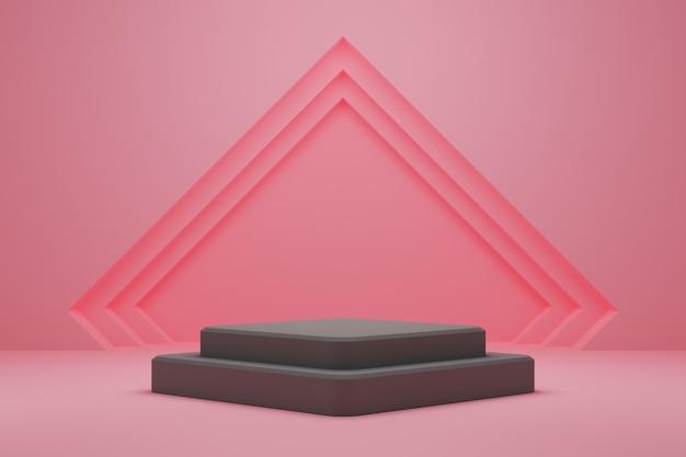 Podio cuadrado gris apilado sobre fondo rosa.