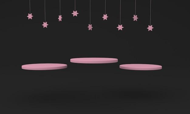 Podio diseño ilustración 3d diseño rosa con fondo negro