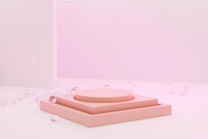 Podio de escenario beige o pedestal para productos sobre fondo rosa pastel, renderizado mínimo de ilustración 3d