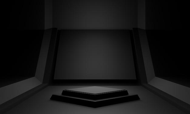 Podio de escenario científico negro renderizado 3d.