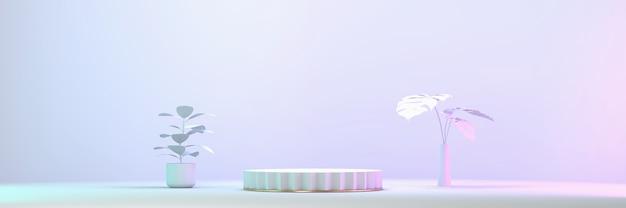 Podio de escenario de exhibición de producto blanco con representación 3d de fondo claro de planta y estudio