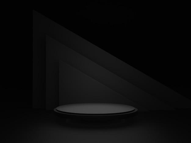 Podio de escenario geométrico negro 3d. fondo oscuro.