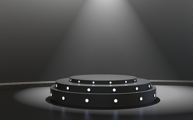 Podio de escenario con podio de escenario de iluminación con ceremonia de premiación sobre fondo negro