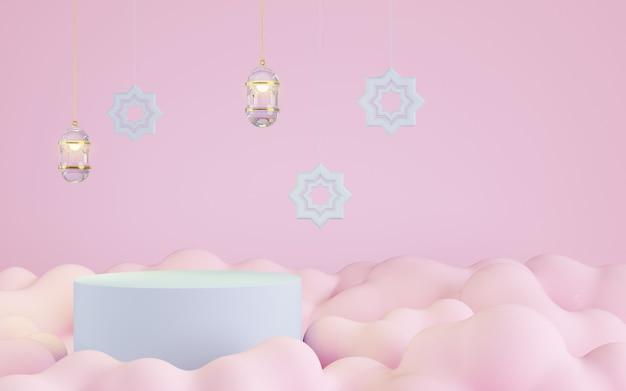 Podio con fondo de nube rosa, decoración islámica, ilustración 3d