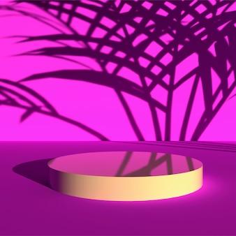 Podio de fondo y pedestal rosa escena, fondo de escena mínima representación 3d con sombra de palma