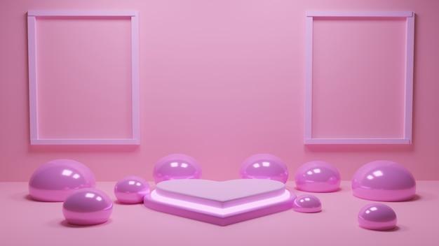 Podio en forma de corazón con marco de pareja sobre fondo de pared rosa para maqueta