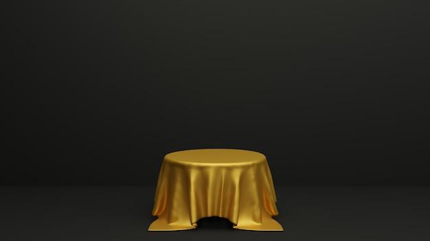 Podio con formas geométricas, tela y podio en el estudio. plataformas para fondo de presentación de producto. composición abstracta en diseño minimalista