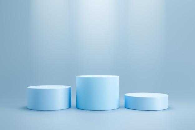 Podio ganador y soporte en blanco en la pared del pedestal del cilindro con estante de productos con foco. podio de estudio en blanco para publicidad de productos. representación 3d