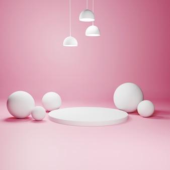 Podio geométrico abstracto con esferas y lámparas.